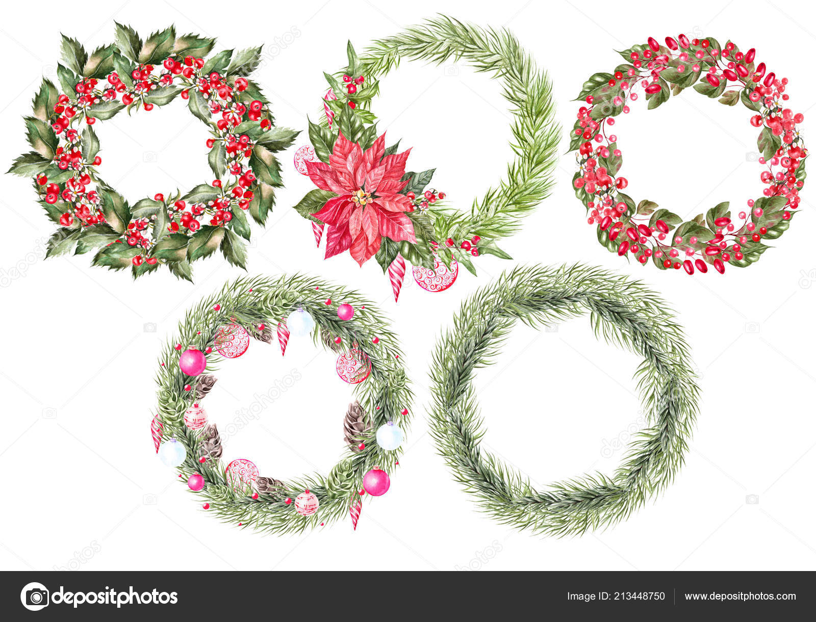 Beautiful Set with 5 watercolor Christmas wreaths. — Stock Photo ...