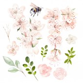 Beautiful watercolor set with spring flowers and leaves.