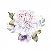 Photo Watercolor colorful bouquet  with peony and anemone.