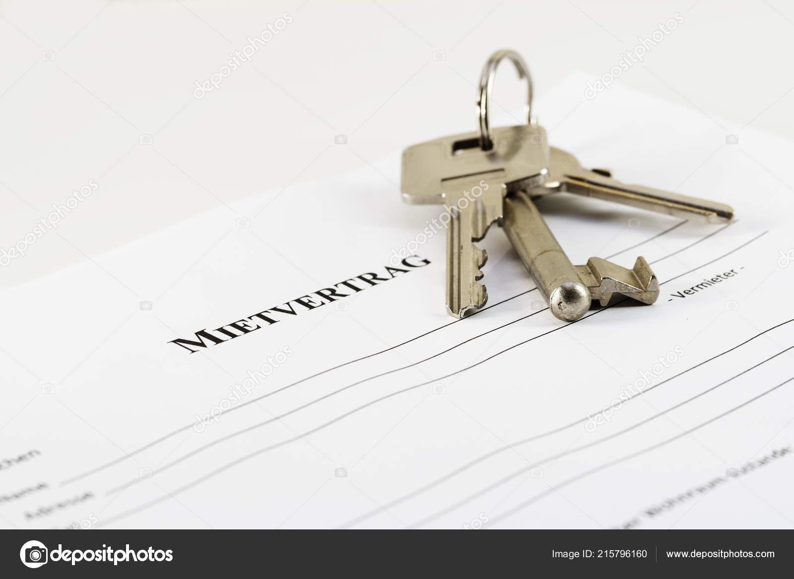German Lease Agreement Document House Keys Mietvertrag Means Rental
