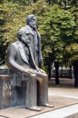 Part of the monument of Karl Marx and Friedrich Engels in the Marx-Engels-Forum, a public park in the central Mitte district of Berlin, German stock vector