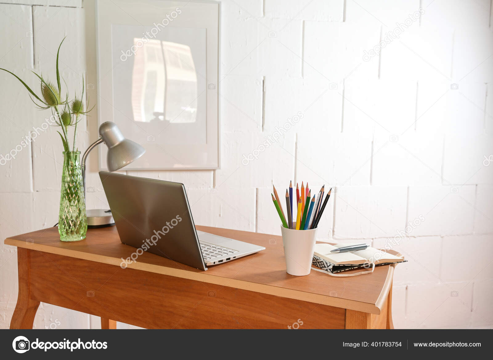 Small Wooden Home Office Desk Laptop Tools Rough White Wall Stock Photo C Fermate 401783754