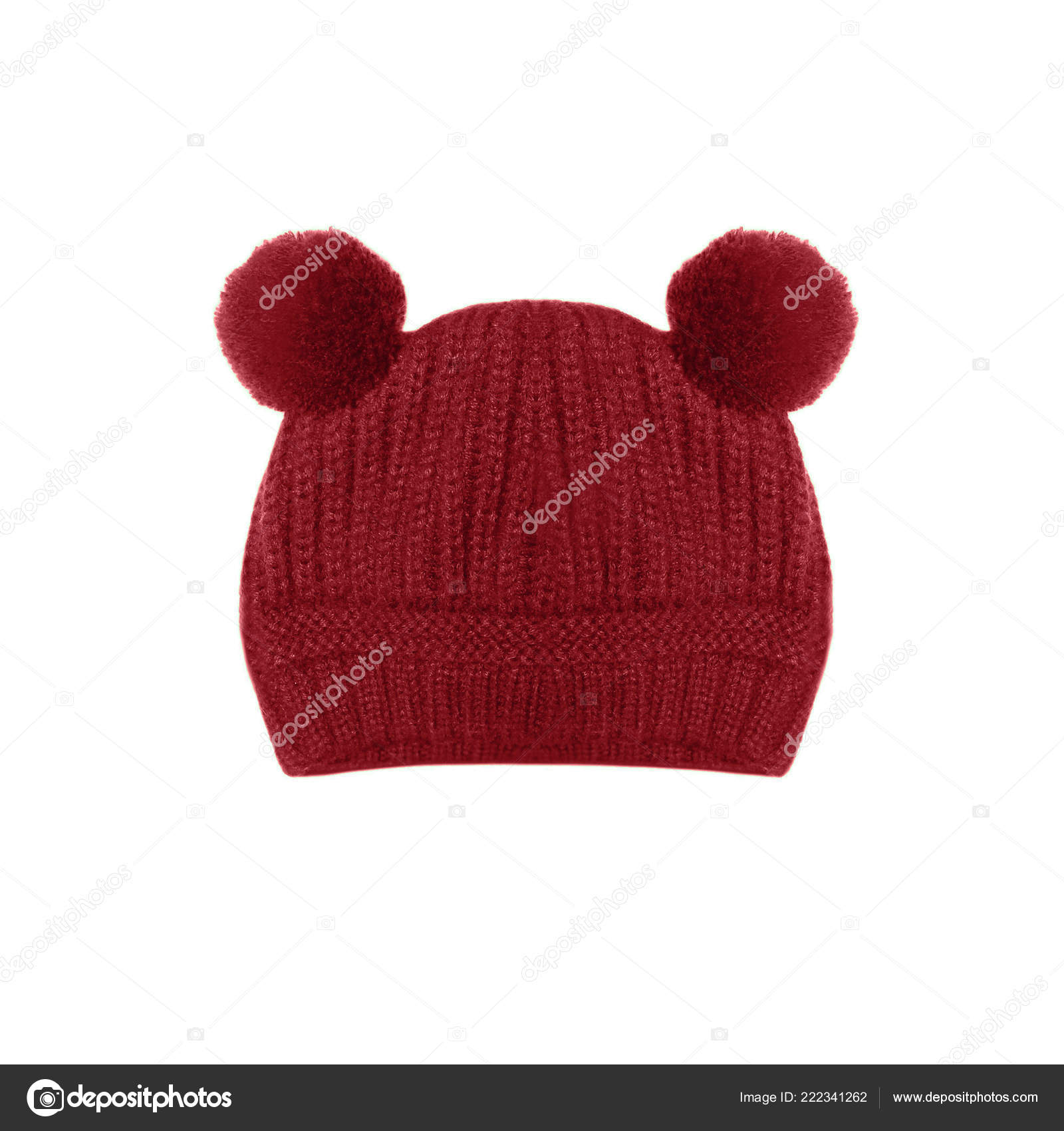 db7a5e6eabd Red Knitted Baby Hat Funny Ears Bear Isolated White Background — Stock Photo
