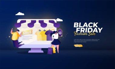 Black Friday fashion sale illustration concept icon