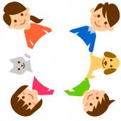 Šťastná rodina s kruhem. Rodiče, děti a domácí zvířata. Vektorová ilustrace