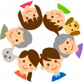 Šťastná rodina s kruhem. Prarodiče, rodiče, děti a domácí zvířata. Vektorová ilustrace