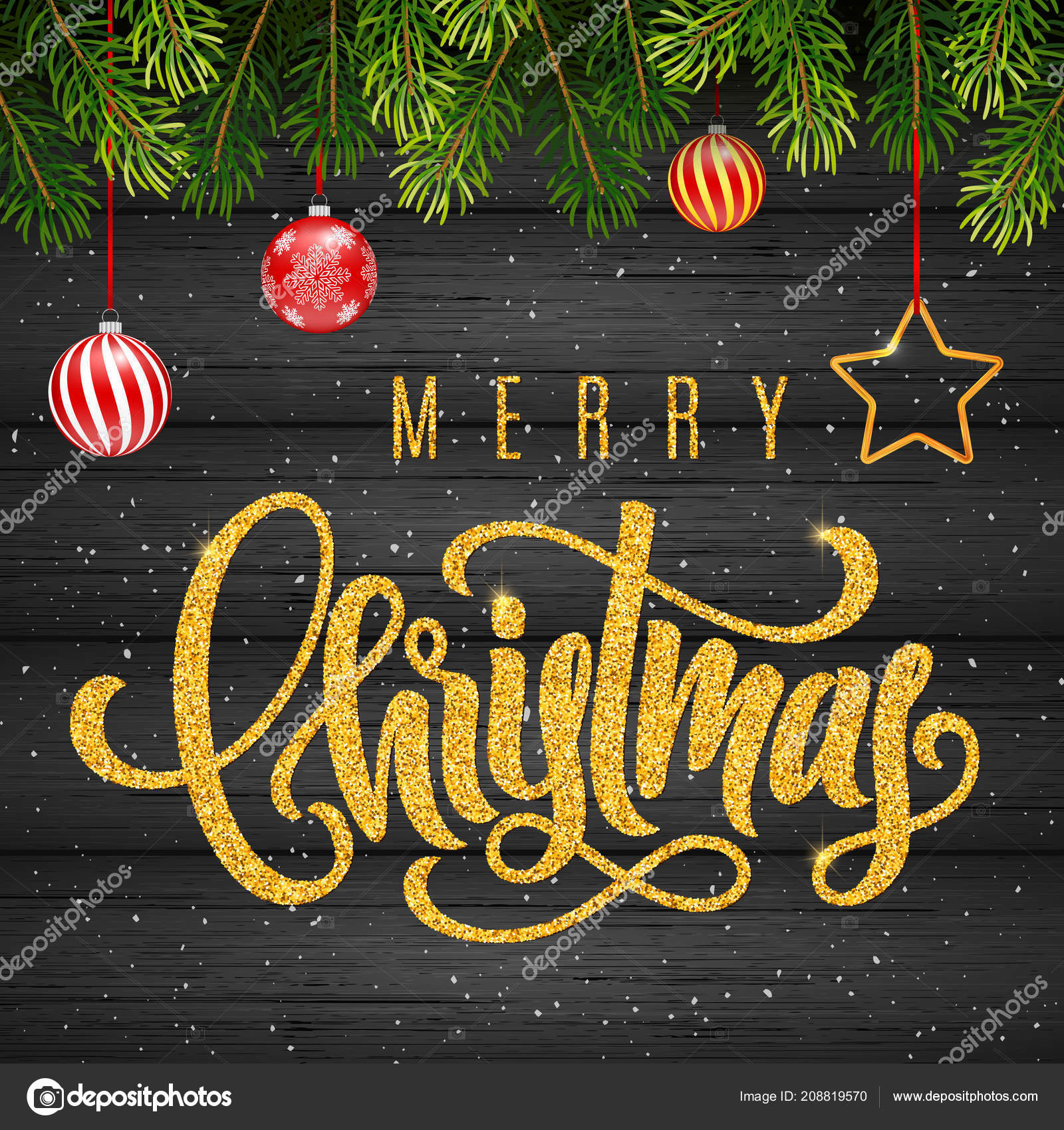Holiday Gift Card With Golden Hand Lettering Merry Christmas And