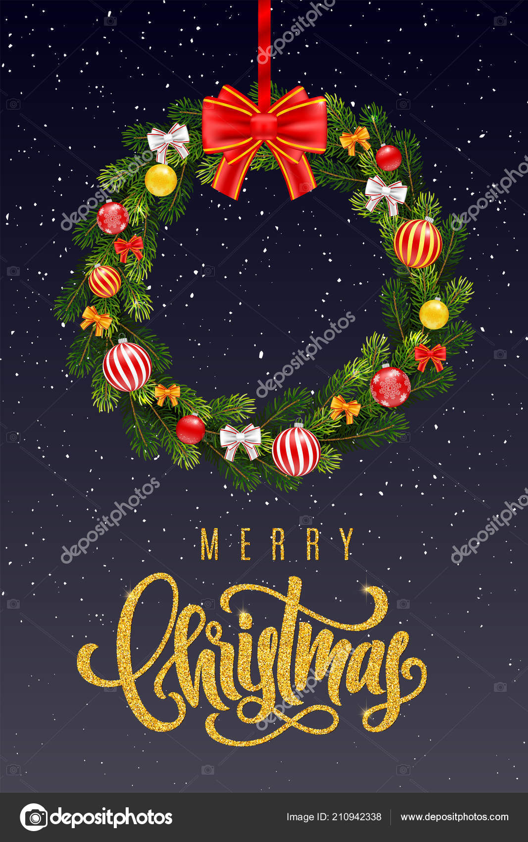Holiday gift card with golden hand lettering Merry Christmas and ...