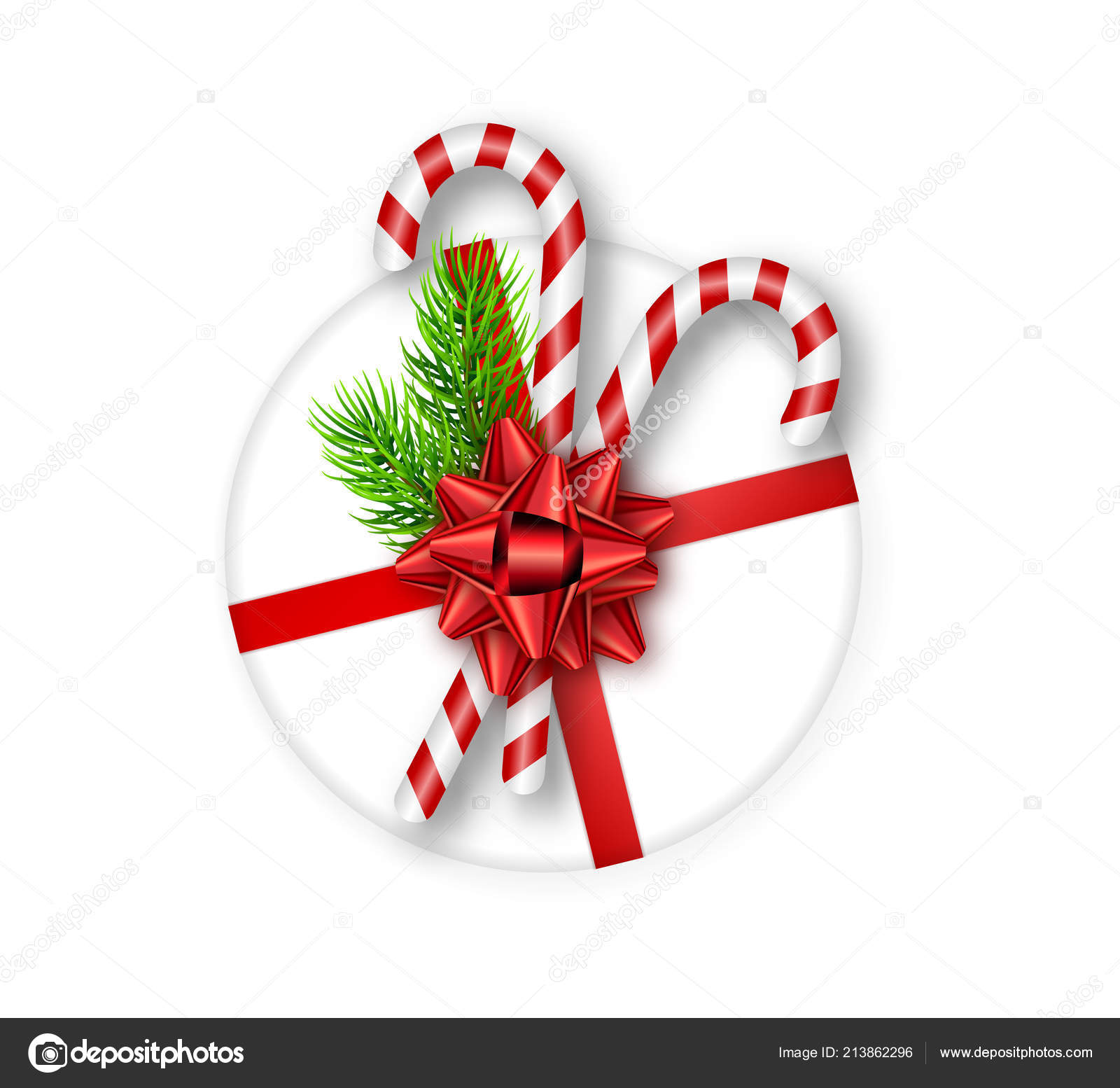 Holiday Round Gift Box With Red Bow Fir Tree Branches And Candy