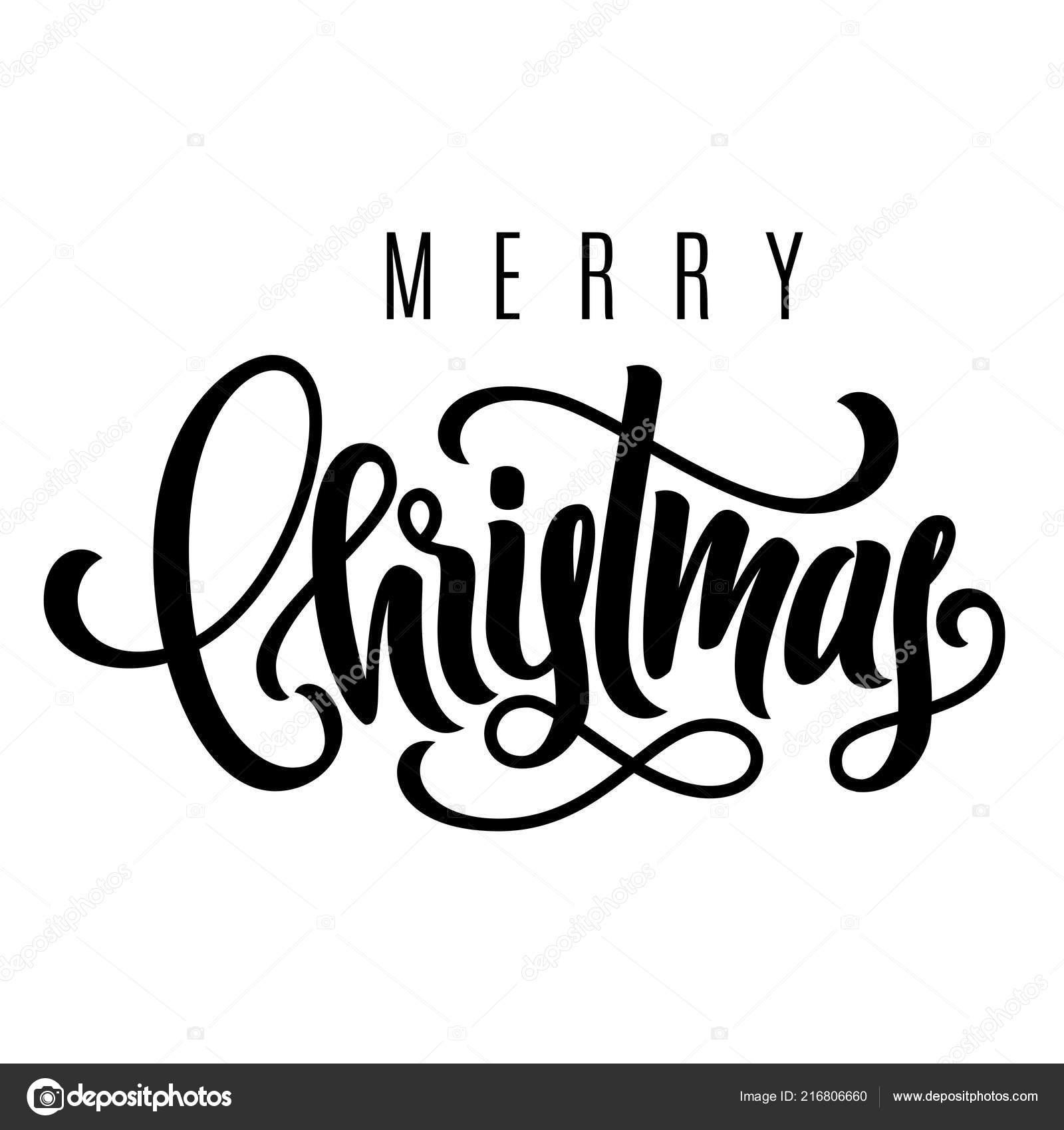 Urlaub Hand Schriftzug Frohe Weihnachten Vorlage Für Ein Banner