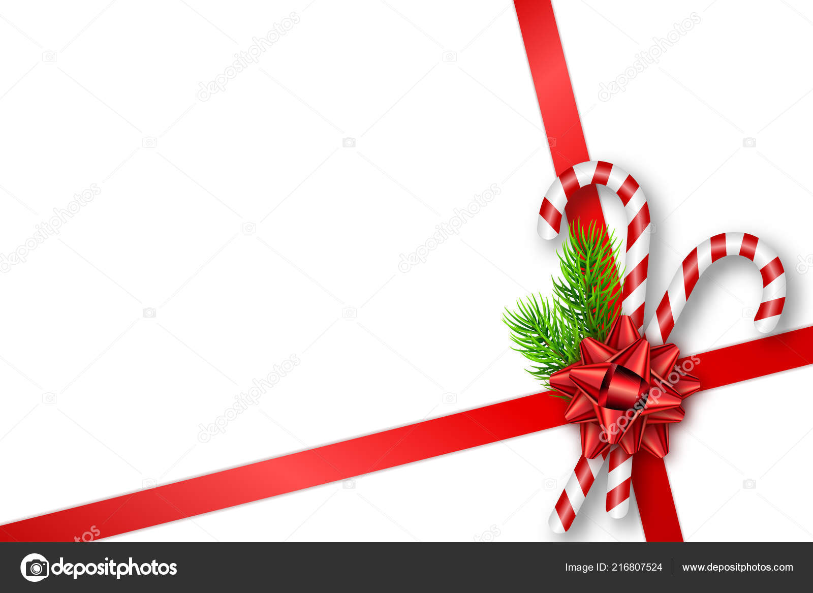 Christmas Gift Card Poster.Holiday Christmas Gift Card With Red Bow Fir Tree Branches