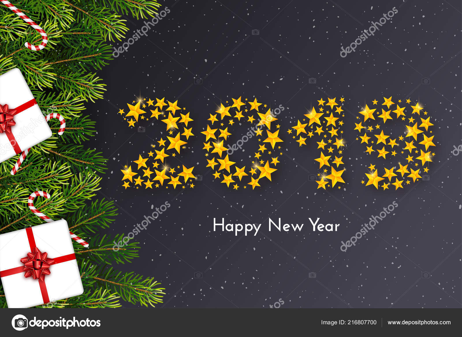 Holiday New Year 2019 Card With Gift Box Red Bow Fir Tree Branches