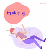 Photo Man under epileptic seizure on white isolated backdrop. Epilepsy text for medical poster, social banner, info card or social network. Flyer or cloth print. Minimal style stock vector illustration