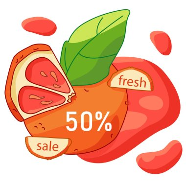 Grapefruit fresh sale label on white isolated backdrop. Juicy discount offer for vegan shop logo, promo card, healthy food shop. Internet store or website banner. Drawn style stock vector illustration icon