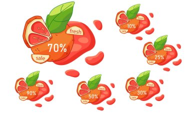 Grapefruit sale sticker set on white isolated backdrop. Discount offer for vegan shop logo, promo card, healthy food shop. Internet store or website banner. Drawn style stock vector illustration icon