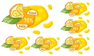 Lemon fresh sale sticker set on white isolated backdrop. Discount offer for vegan shop logo, promo card, healthy food shop. Internet store or website banner. Drawn style stock vector illustration icon