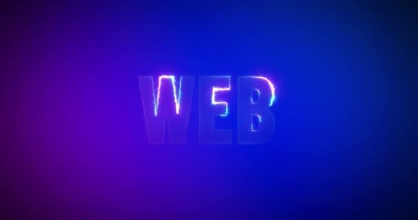 Web. Elektrická blesková slova. Logotyp. Internet