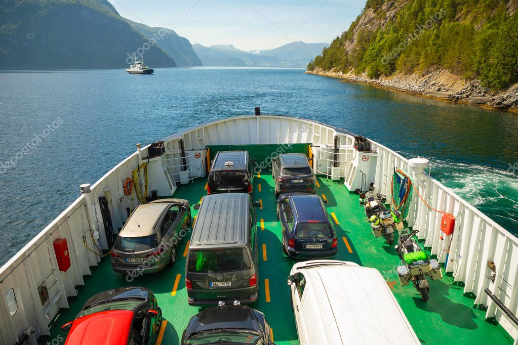 Dalsfjord, Norway - 25.06.2018: The Ferry transported cars on Dalsfjord, Norway