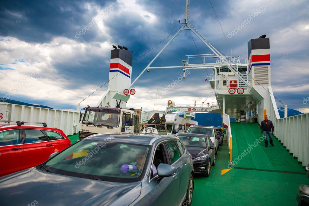 Leardal, Norway - 27.06.2018: The Ferry transported cars on Leardal, Norway