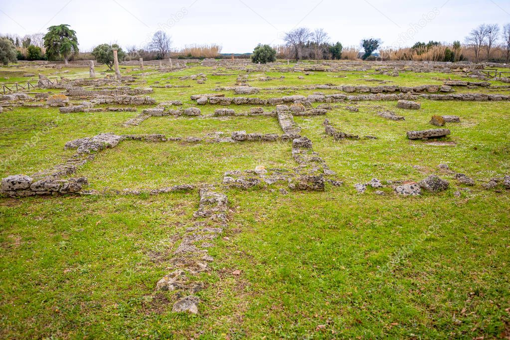 Old ruins of ancient Greek city in Paestum, Italy