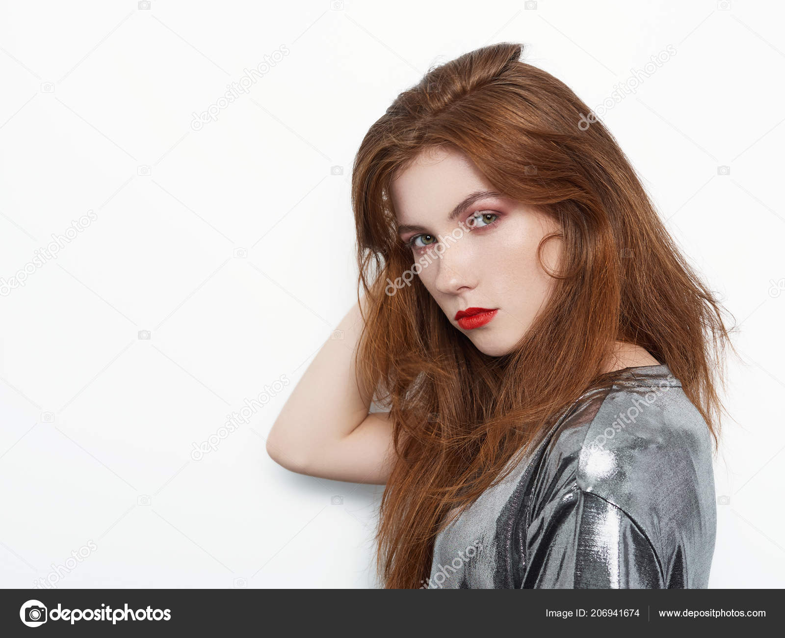 Headshot Young Beautiful Excited Woman Gorgeous Natural Red Hair Red