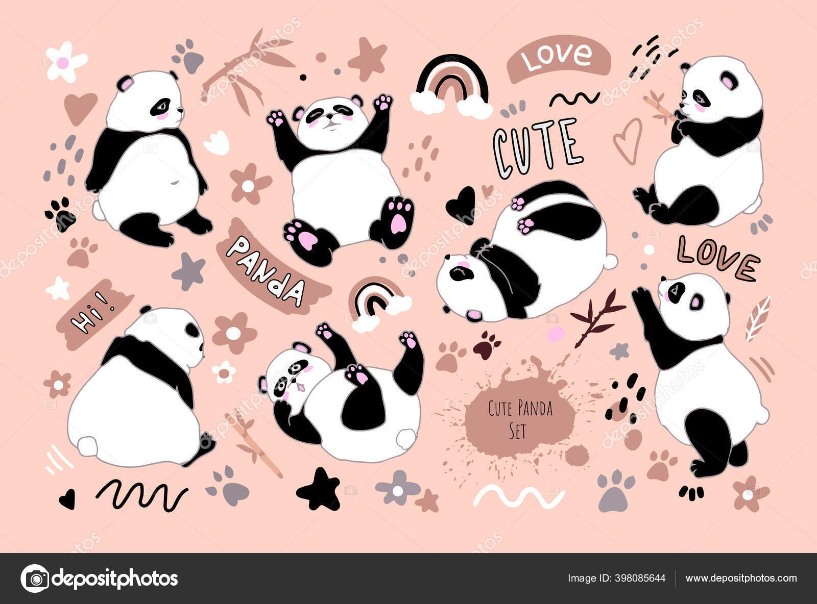 depositphotos 398085644 stock illustration set cartoon funny pandas cute