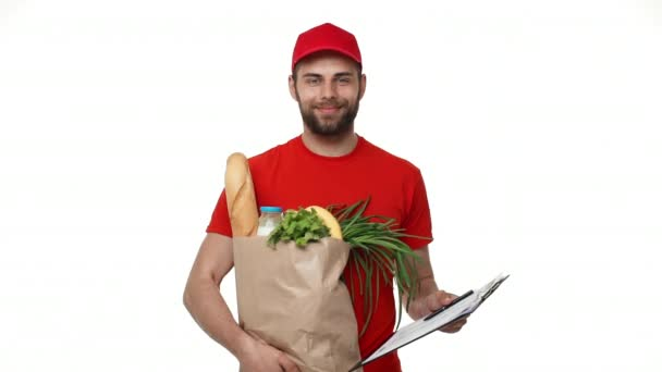 Delivery man delivering package of grocery and document