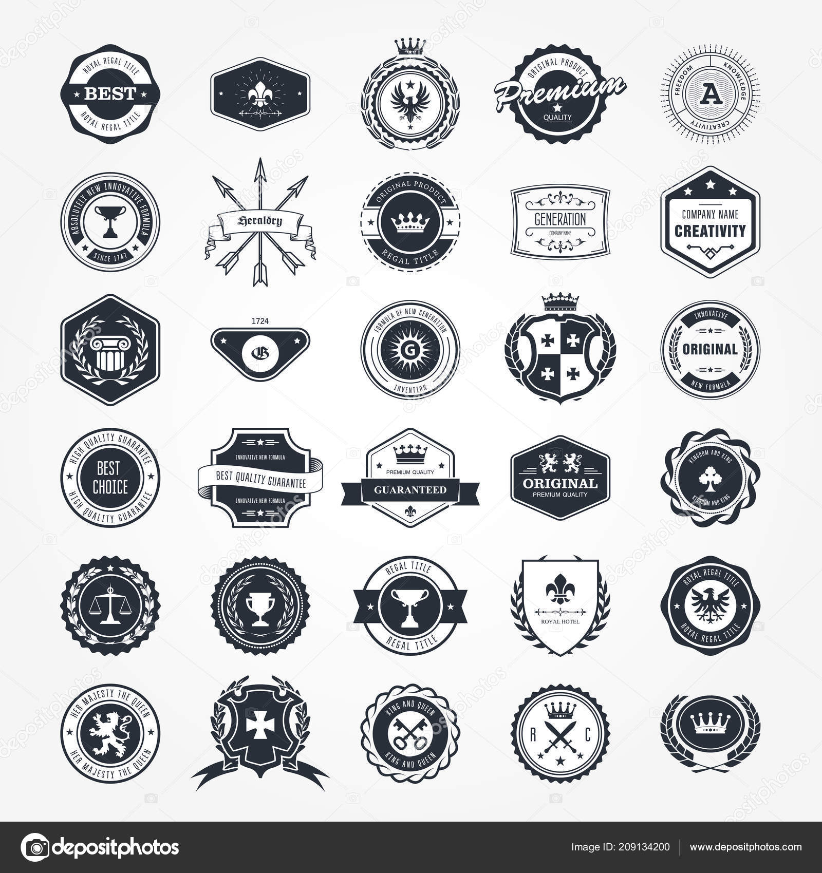 emblems badges retro seals set blazons labels vetores de stock