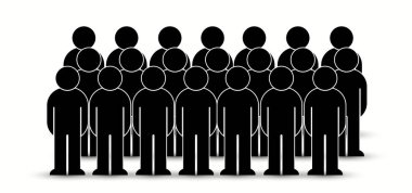 Pack of flat style people, family, couple, crowd icons isolated on white. Black infographics teamwork, leadership, personality, revolution, election, turn, administration, management concept. Vector icon