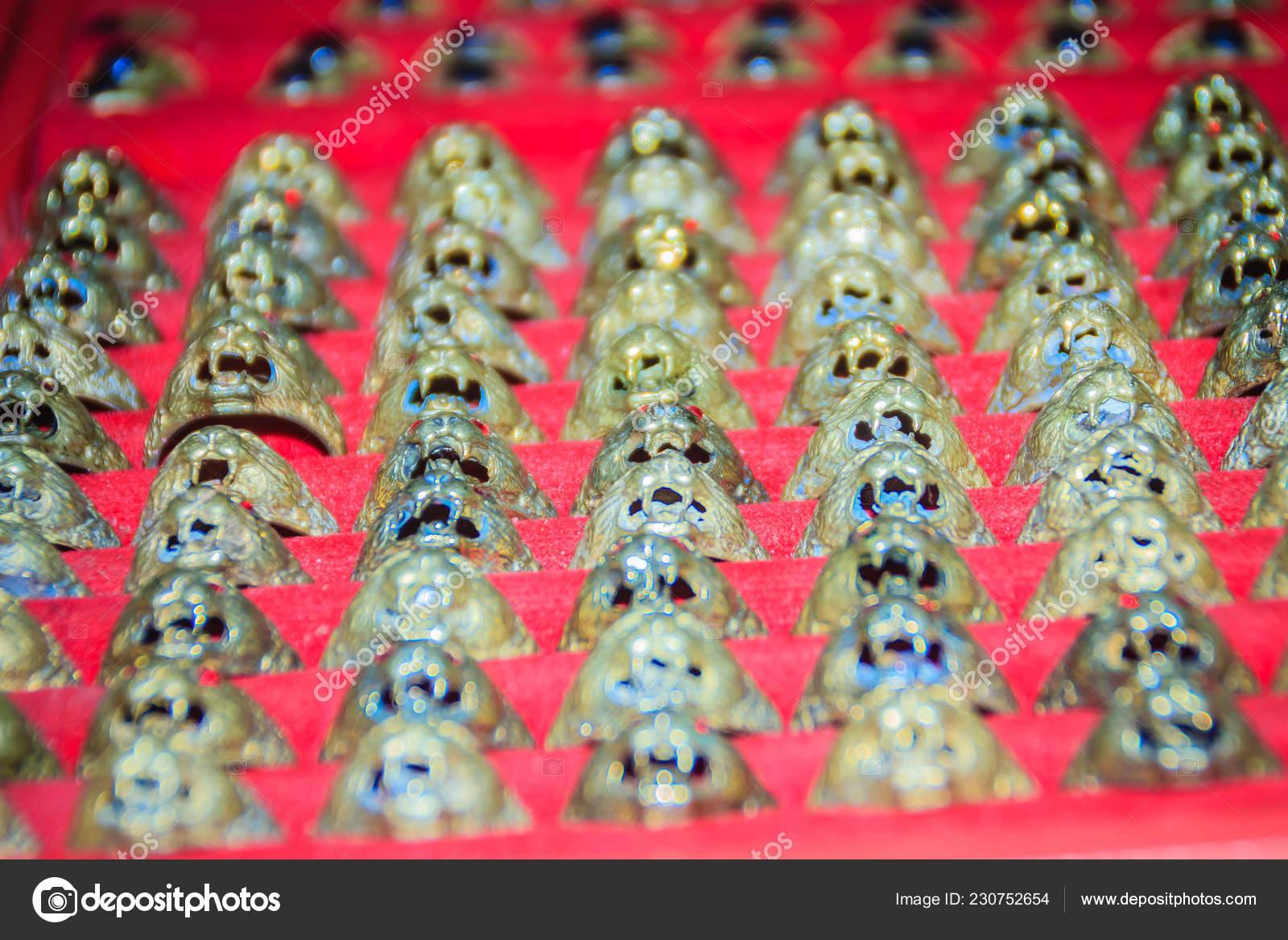 Amulet Rings Sale Public Buddhist Temple Thailand Hundreds Amulets