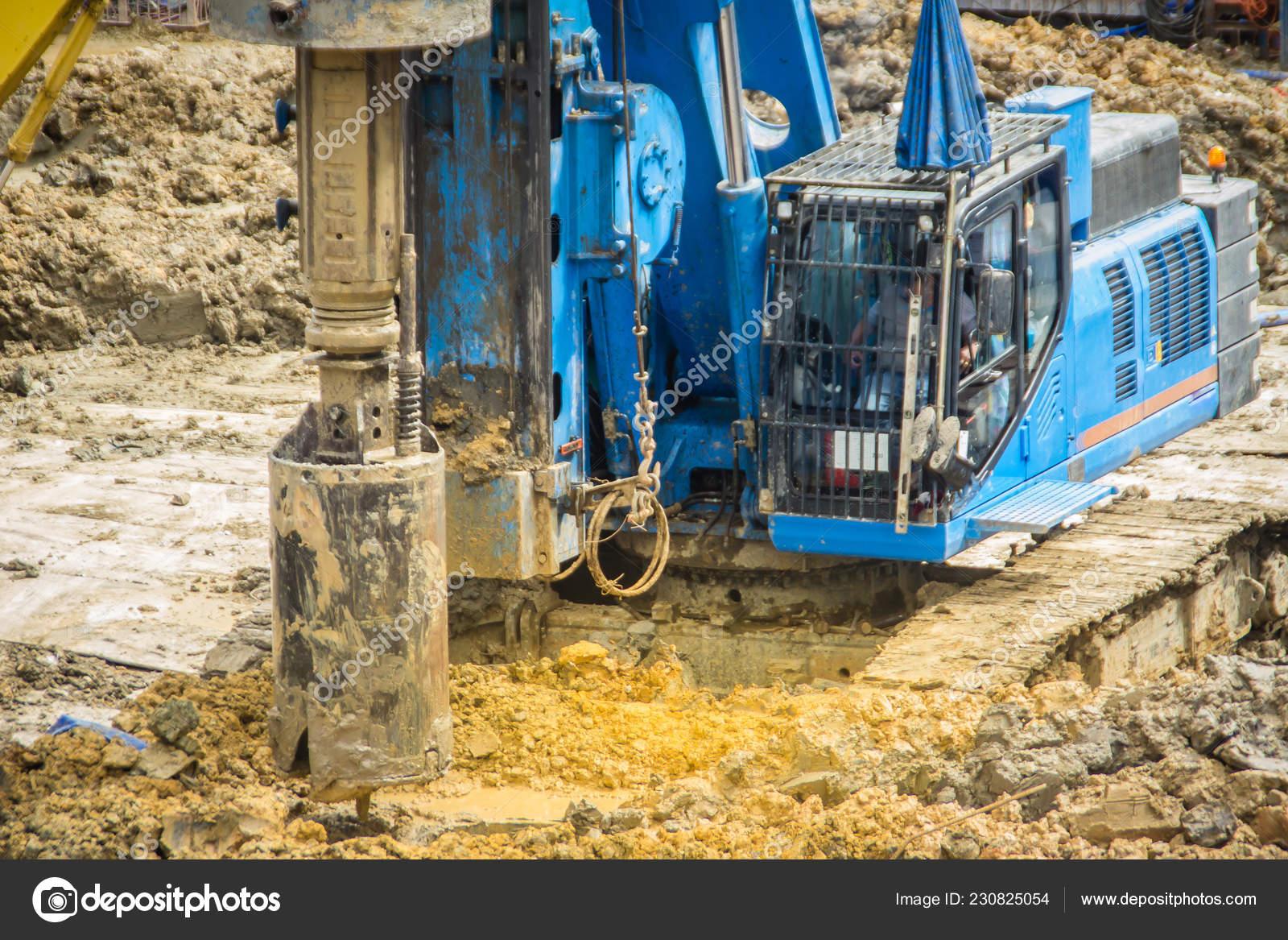 Hydraulic Drilling Machine Boring Holes Construction Site