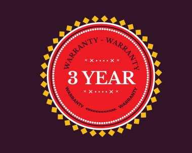 3 years warranty icon stamp