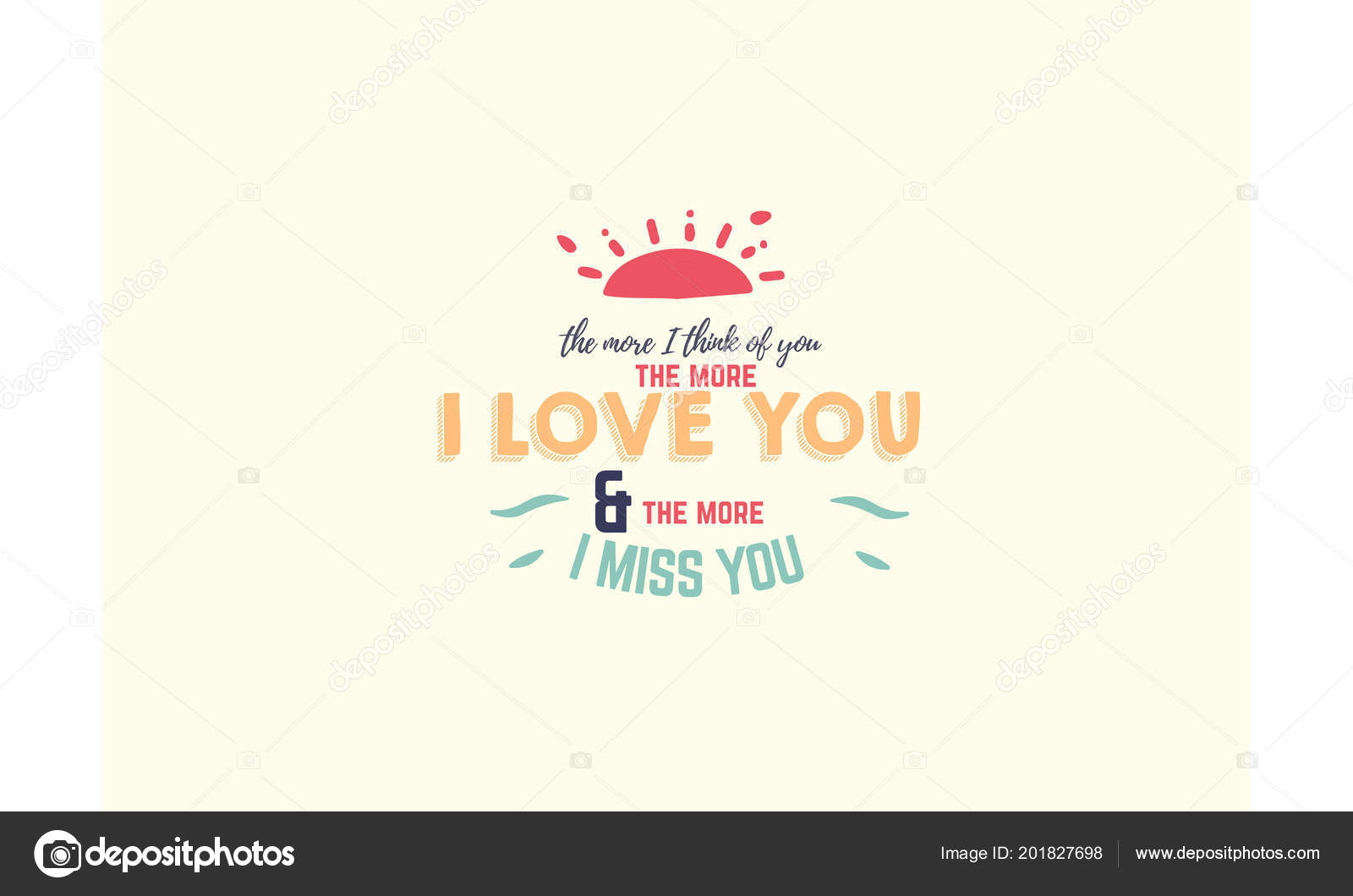 More Think You More Love You More Miss You Stockvektor Uguhime