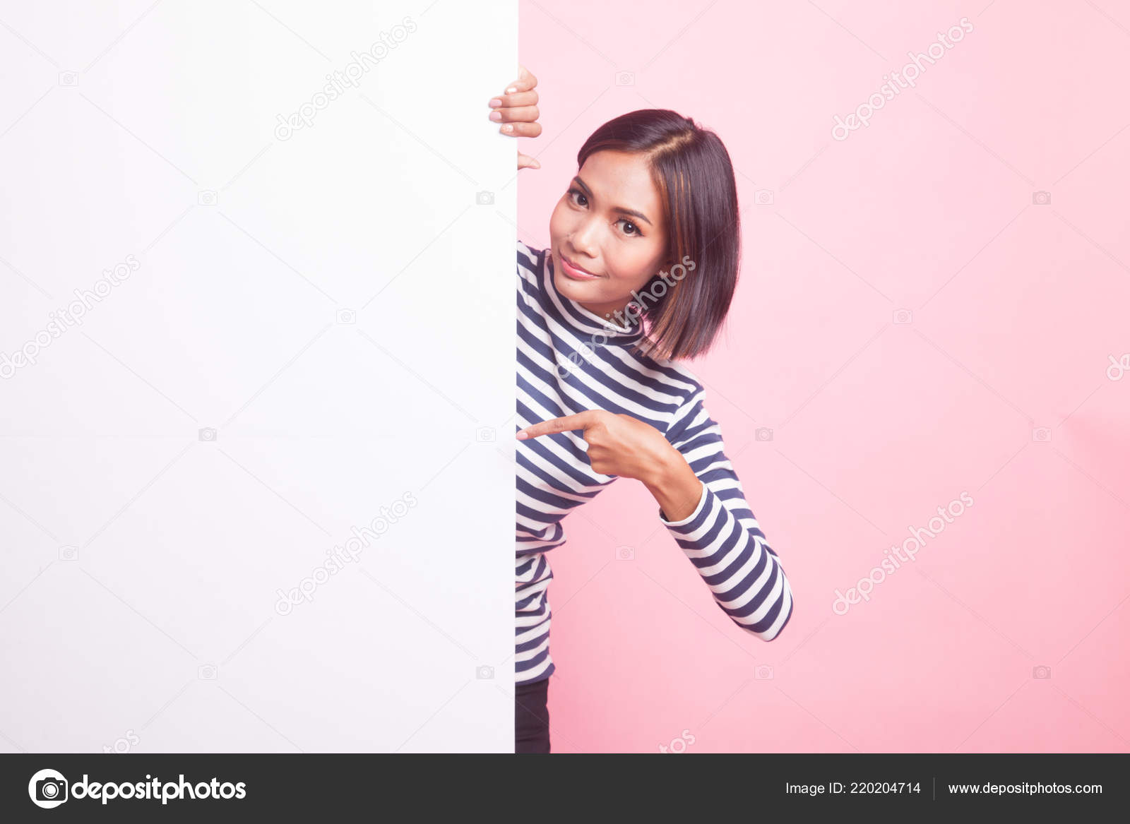 Young Asian Woman Point Blank Sign Pink Background — Stock Photo