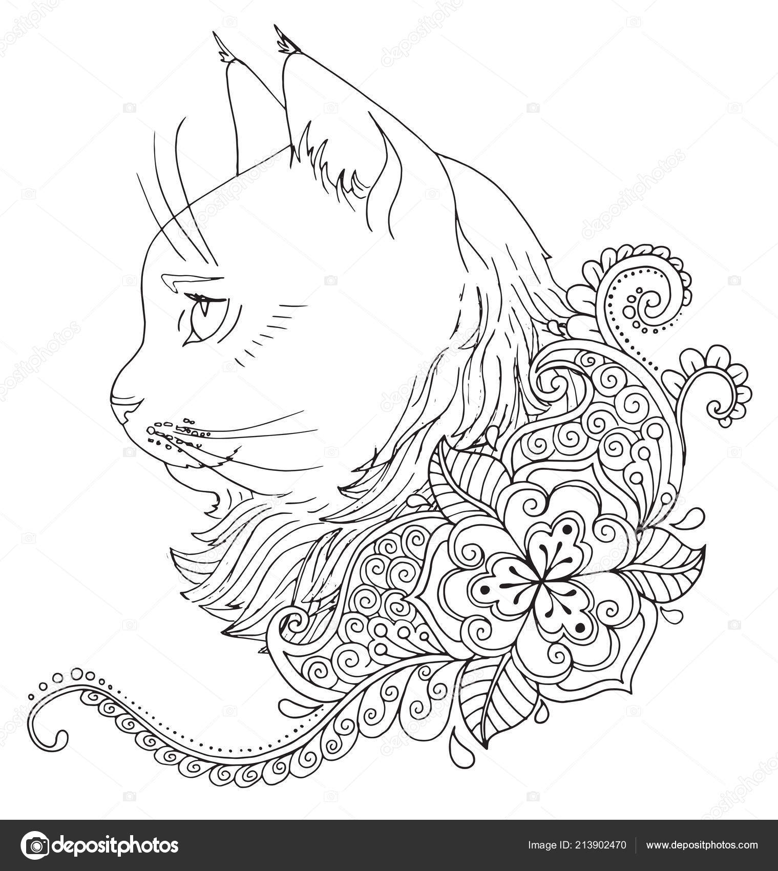 Coloriage Chat Avec Des Fleurs.Livre De Coloriage Chat Image Vectorielle Snowkat C 213902470