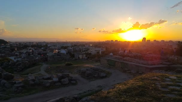 Timelapse of the sunset over the Nebet tepe - one of the seven hills in Plovdiv, Bulgaria.
