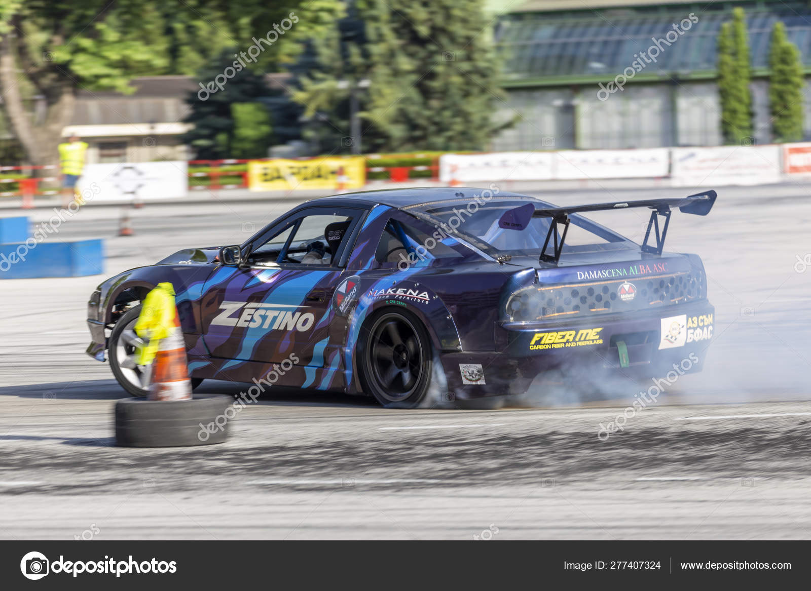 Car Drifting Race Competition On A Track Stock Editorial Photo C Nikolay100 277407324