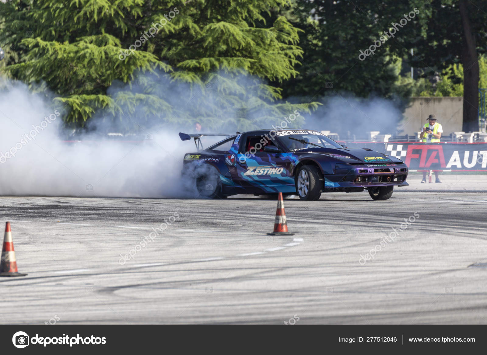 Car drifting race competition on a track – Stock Editorial