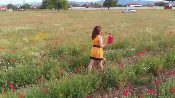 Mladá žena ve žlutých šatech v makové květinové pole s krásnými mraky v pozadí