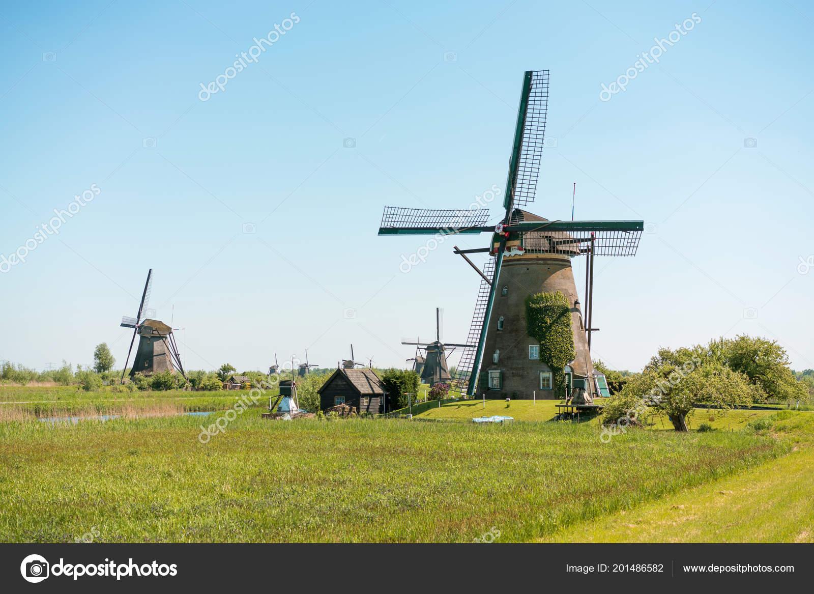 Mulini Vento Olandesi Tradizionali Kinderdijk Paesi Bassi Foto