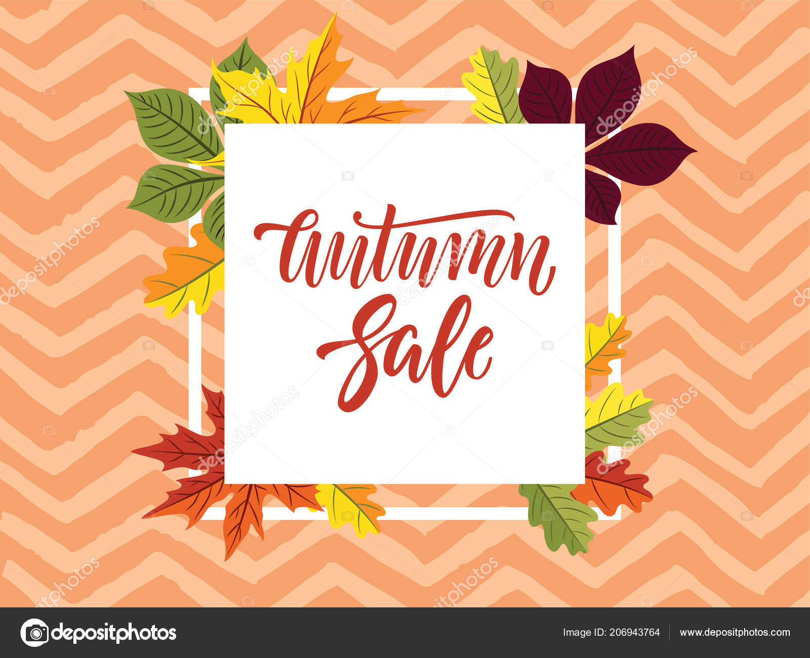 autumn sale horizontal banner design bright leaves ink painted