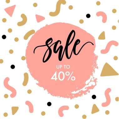Sale template with brush painted copy space and abstract shapes on background.