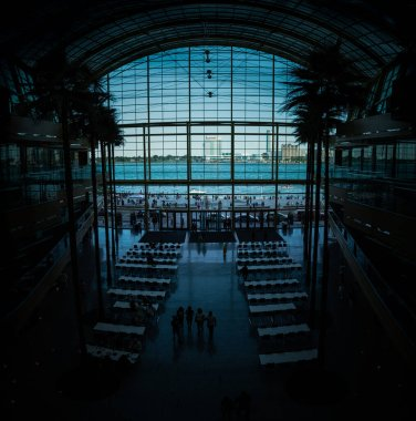 inside General Motors headquarters the Renaissance Center looking at the Canadian border in Detroit, Michigan on June 6, 2019