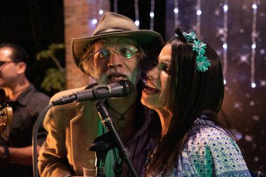 Tres Amigos Band performs at a hippie wedding in Anitgua , Guatemala on 03-07-2020
