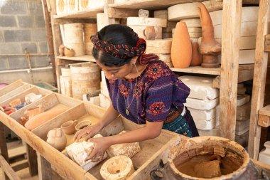 Antigua Guatemala, Guatemala- March 09 2020: Ceramics are being handmade and painted in Guatemala just before the Corona Virus.