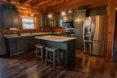Log cabin style home has been staged for sale 9-15-19