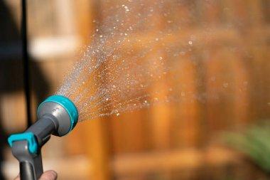 garden hose sprays water droplets onto your flower garden