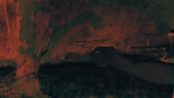 A shot from a pistol. A man shoots from a weapon. The texture of the old wall. Double exposure effect