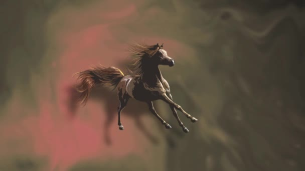 Running horse. Moving fluid. Abstract cinemagraph