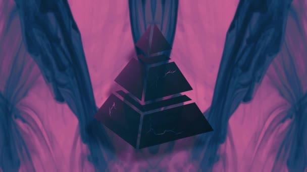 Dark pyramidal shape. Blue ink. Neon lighting. Abstract background